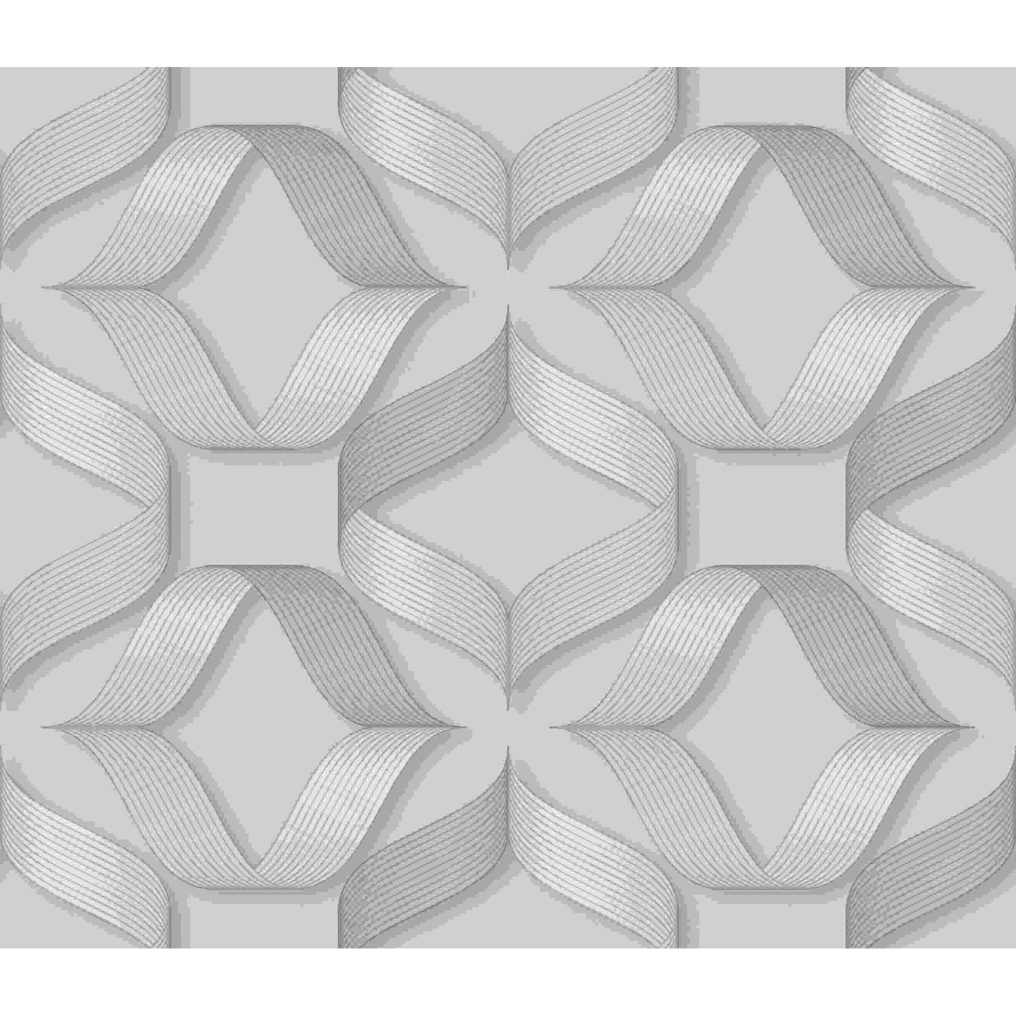 Papel de Parede Kan Tai Vinílico Coleção Neonature 5 Geométrico Formas Cinza, Dourado, brilho