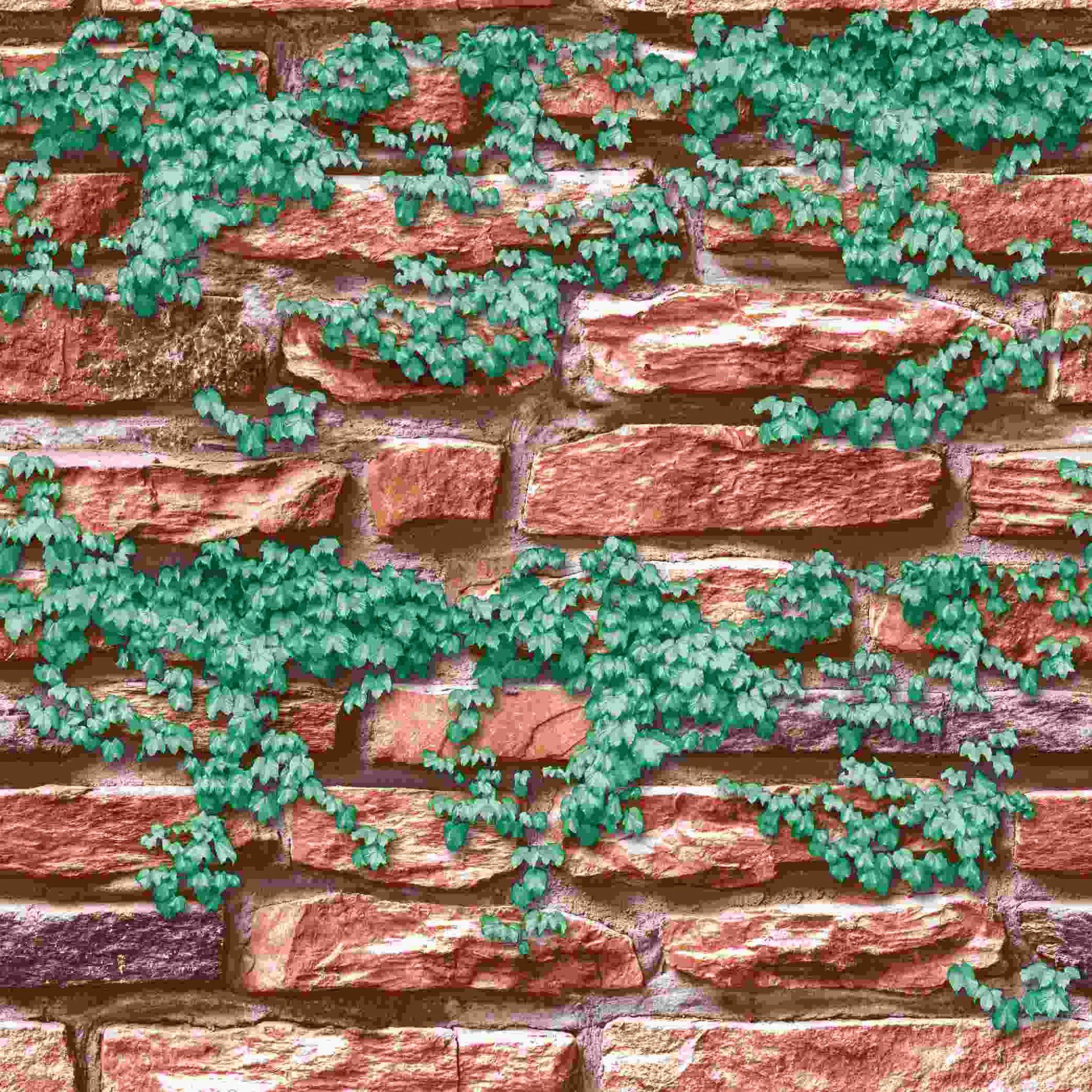 Papel de Parede Kan Tai Vinílico Coleção Neonature 5 Pedra Avermelhado, Folhagem Verde