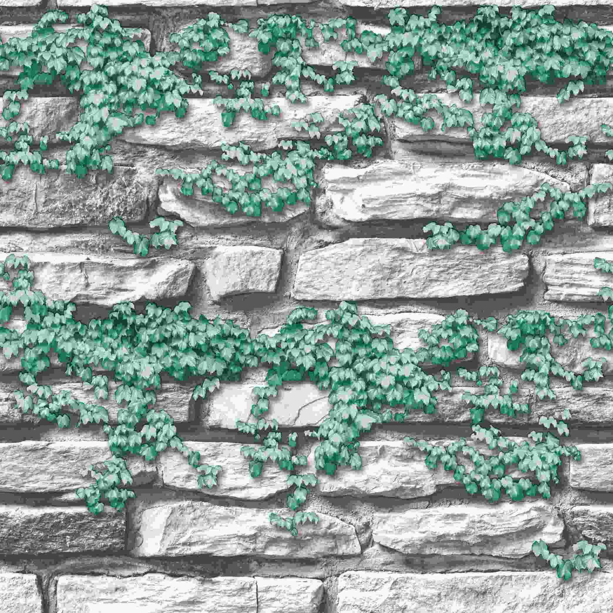 Papel de Parede Kan Tai Vinílico Coleção Neonature 5 Pedra Cinza, Creme, Folhagem Verde