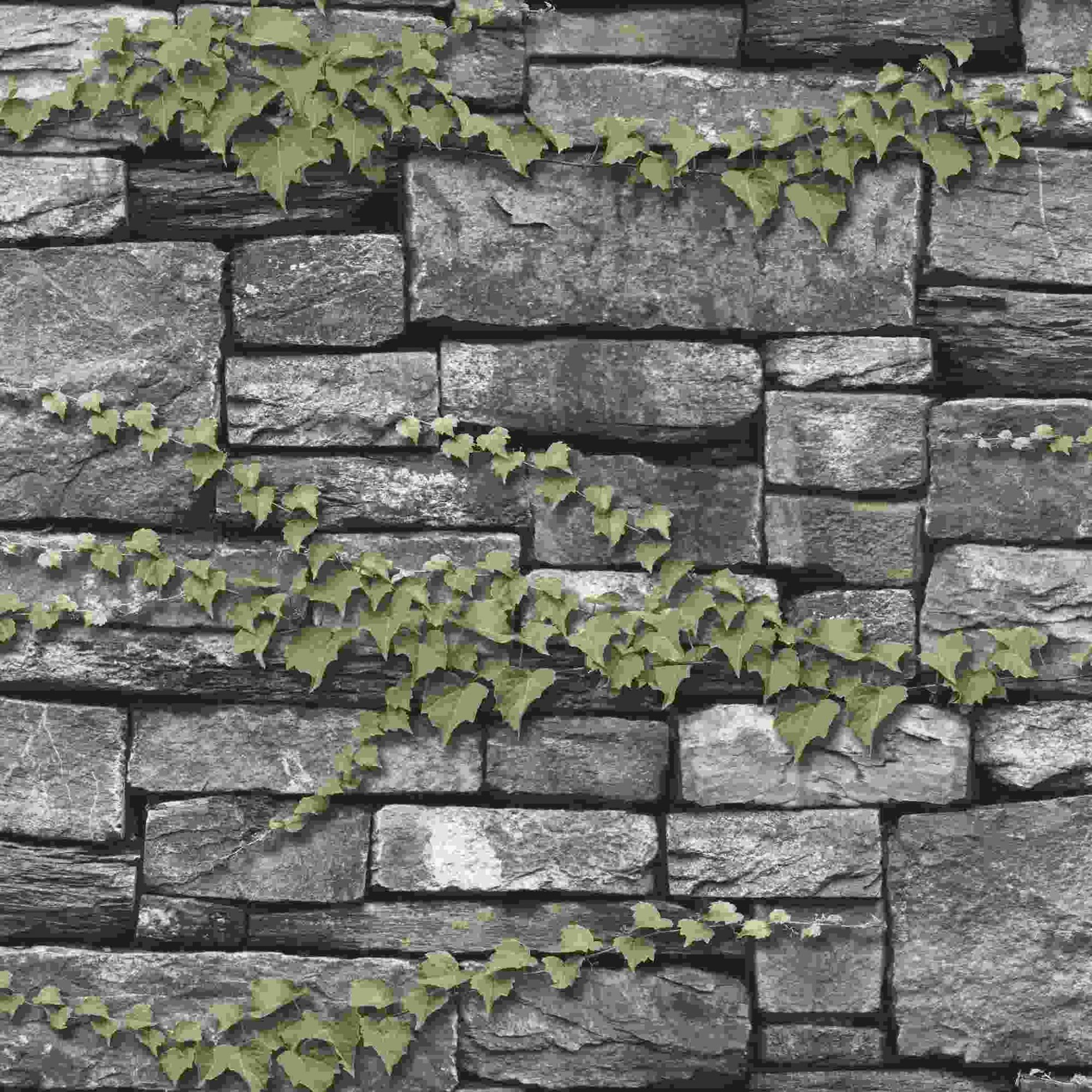Papel de Parede Kan Tai Vinílico Coleção Neonature 5 Pedra Tons cinza, Folhagem Verde