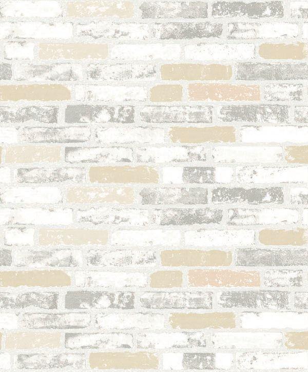 Papel de Parede Kan Tai Vinílico Coleção Neonature 5 Tijolo Branco, Bege, Cinza
