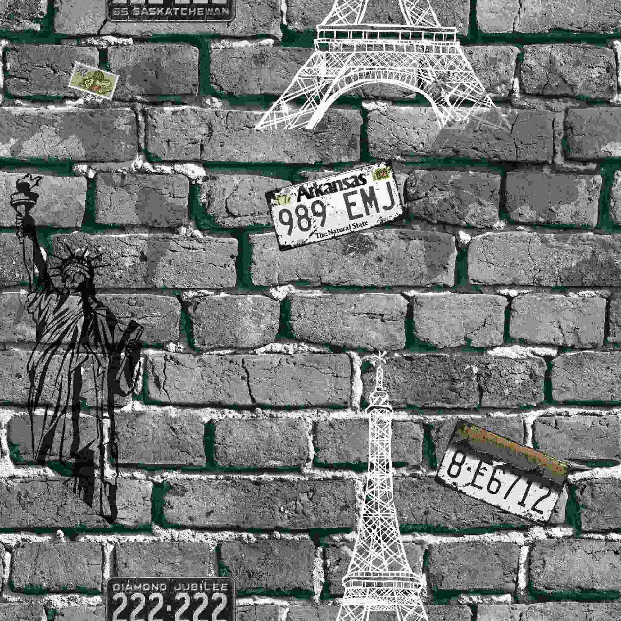 Papel de Parede Kan Tai Vinílico Coleção Neonature 5 Tijolo Cidades Cinza Escuro