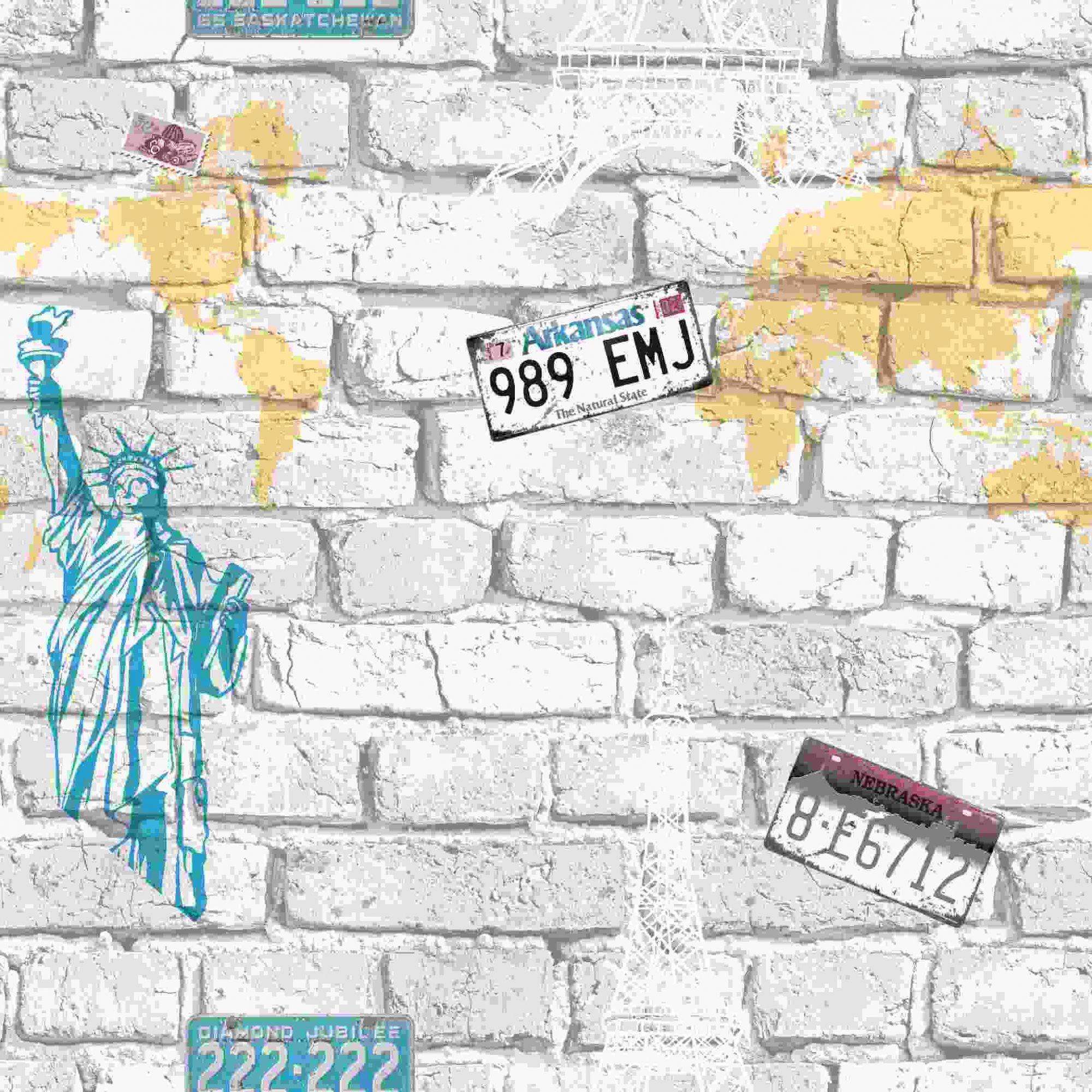 Papel de Parede Kan Tai Vinílico Coleção Neonature 5 Tijolo Cidades Creme