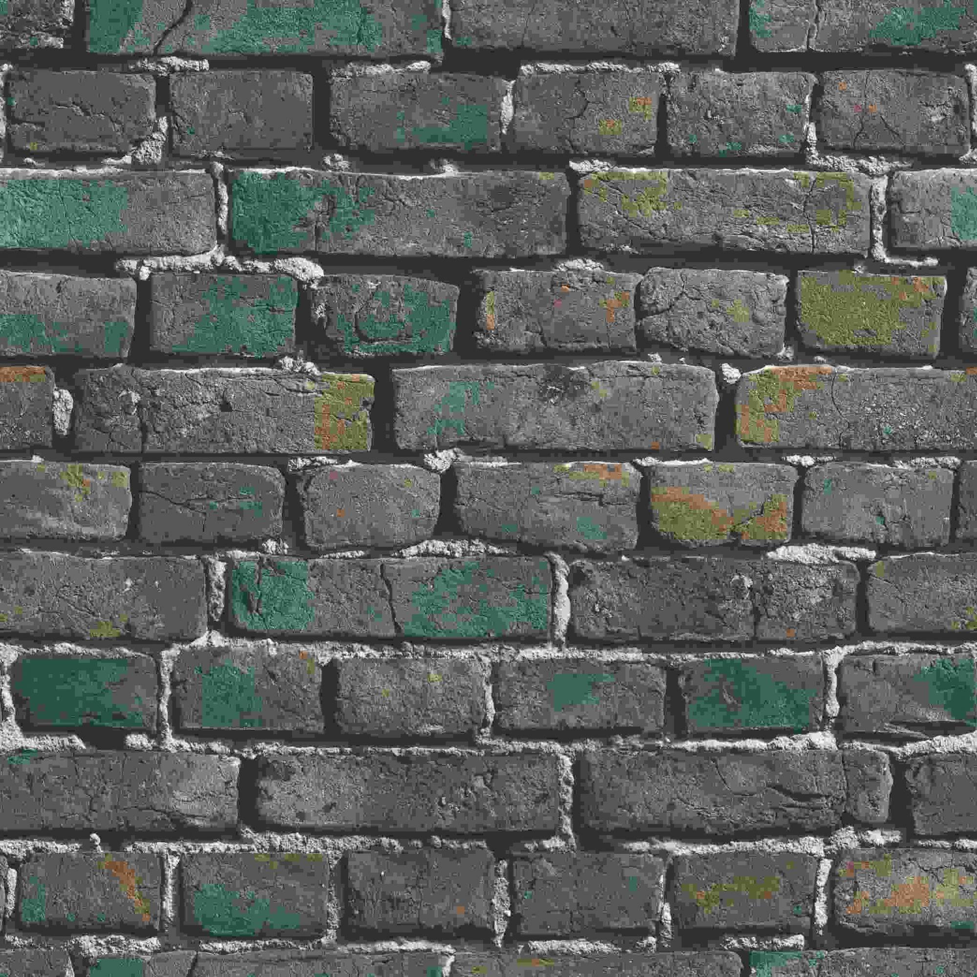 Papel de Parede Kan Tai Vinílico Coleção Neonature 5 Tijolo Cinza, Verde, Amarelo, Preto