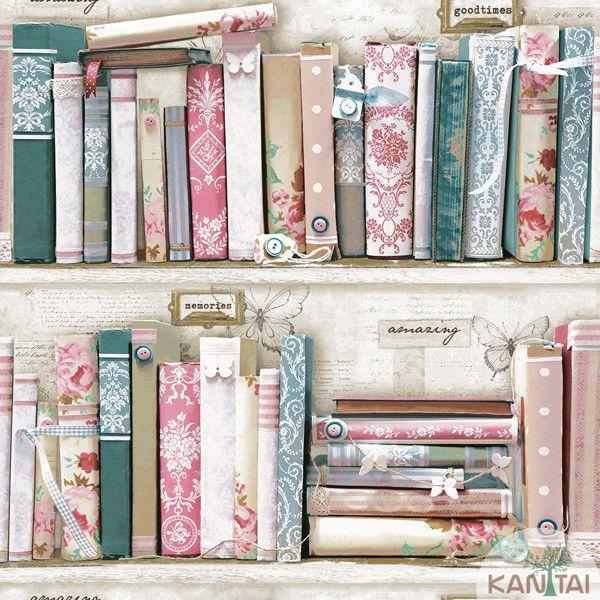 Papel de Parede Kan Tai  VinÍlico Coleção Neonature IV Padronagem Livros Rosa, Creme, Verde