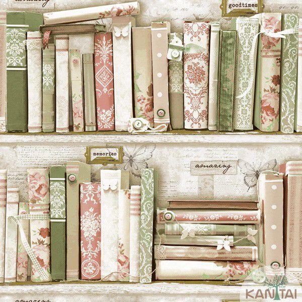 Papel de Parede  Kan Tai  VinÍlico Coleção Neonature IV Padronagem Livros Bege, Marrom, Verde, Vermelho