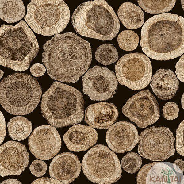 Papel de Parede Kan Tai  VinÍlico  Coleção Neonature IV Madeiras Toras Preto, Marrom madeira
