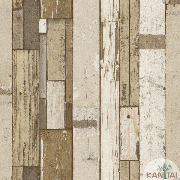 Papel de Parede  Kan Tai  VinÍlico Coleção Neonature IV Madeiras coloridas Marrom, Cinza, Bege