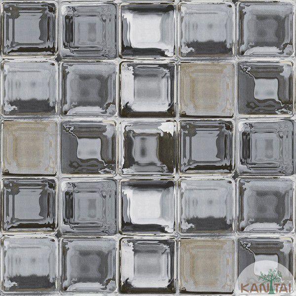 Papel de Parede Kan Tai  VinÍlico  Coleção Neonature IV Geométrico Tijolo de vidro Tons Cinza, Creme