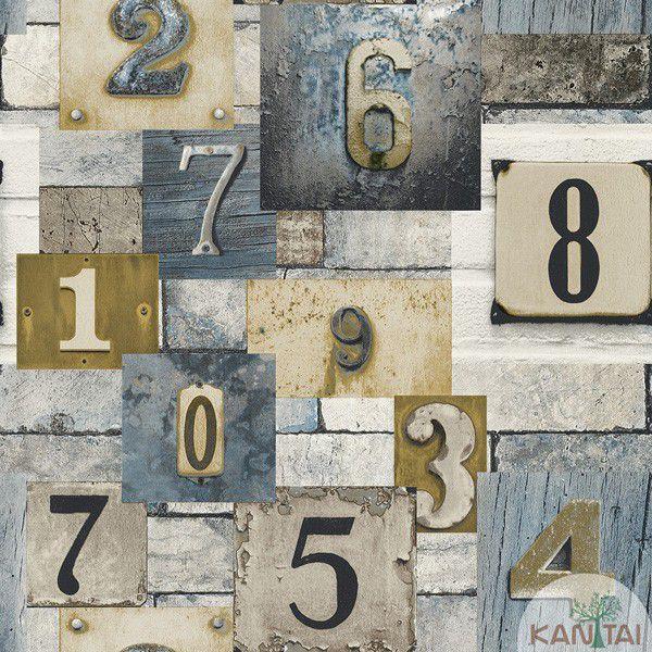 Papel de Parede Kan Tai  VinÍlico Coleção Neonature IV Padronagem Números Azul, Bege, Creme