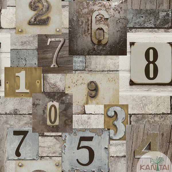 Papel de Parede  Kan Tai  VinÍlico Coleção Neonature IV Padronagem Números Creme, Marrom, Cinza