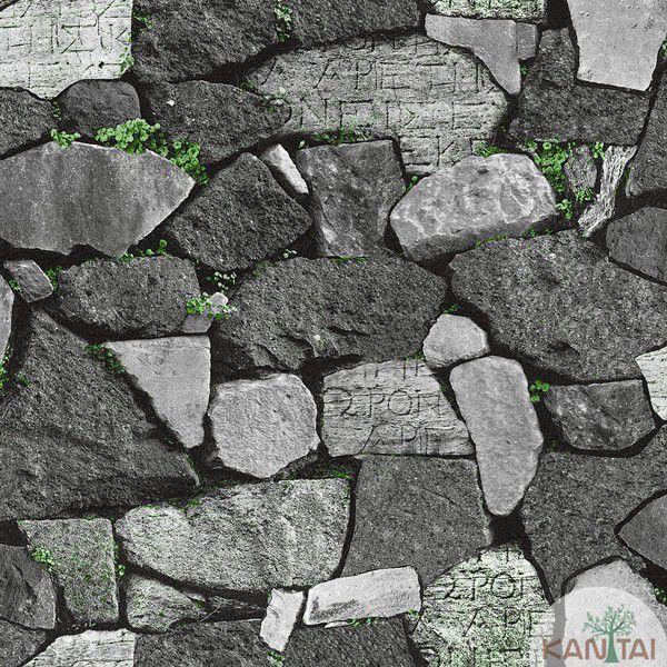 Papel de Parede Kan Tai  VinÍlico  Coleção Neonature IV Pedras Tons cinza, verde