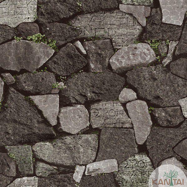 Papel de Parede Kan Tai  VinÍlico Coleção Neonature IV Pedras Tons Marrom, Cinza