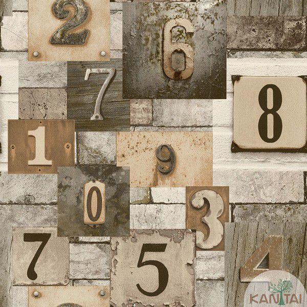 Papel de Parede Kan Tai  VinÍlico  Coleção Neonature IV Padronagem Números Marrom, Cinza, Branco