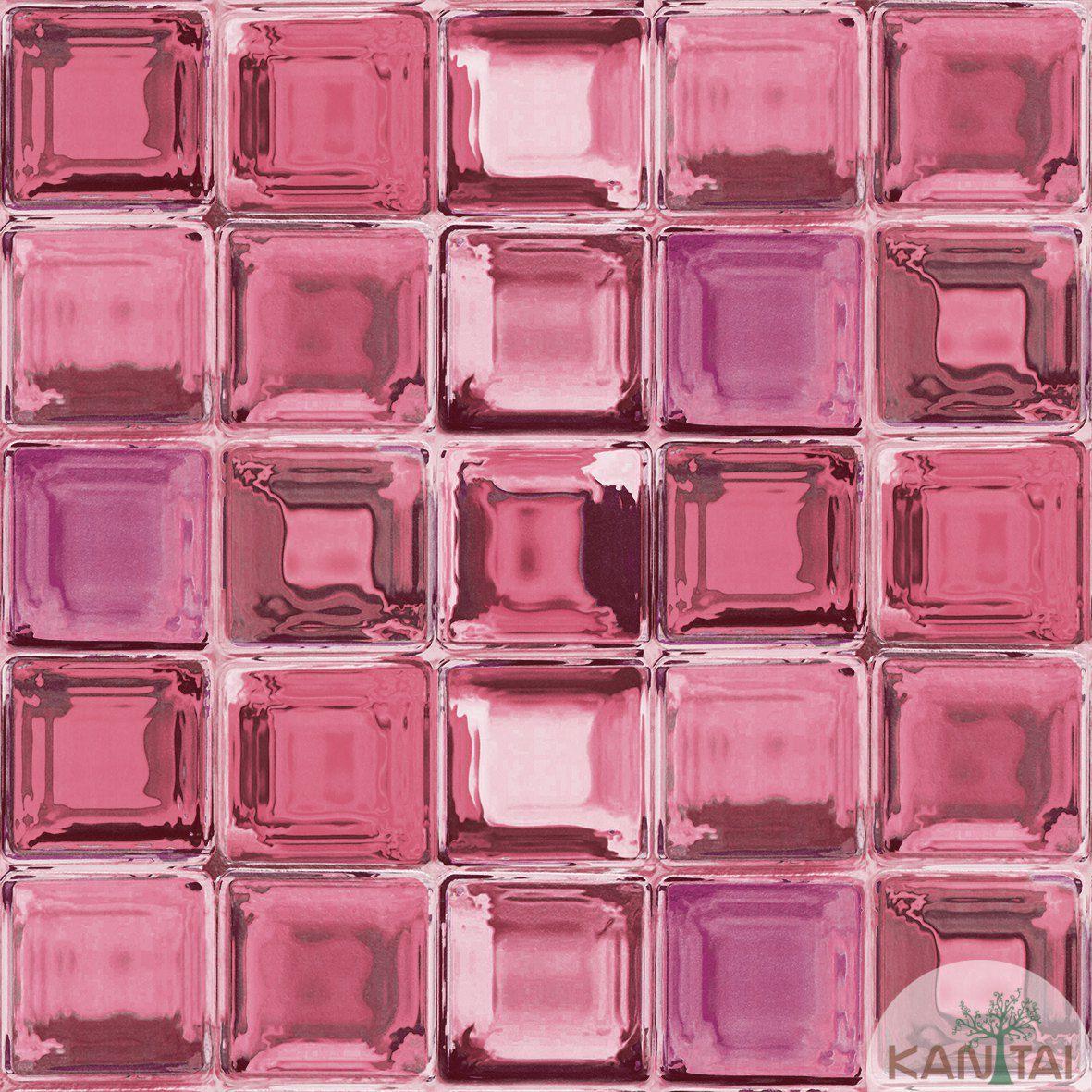 Papel de Parede Kan Tai  VinÍlico  Coleção Neonature IV Geométrico Tijolo de vidro Tons Vermelho