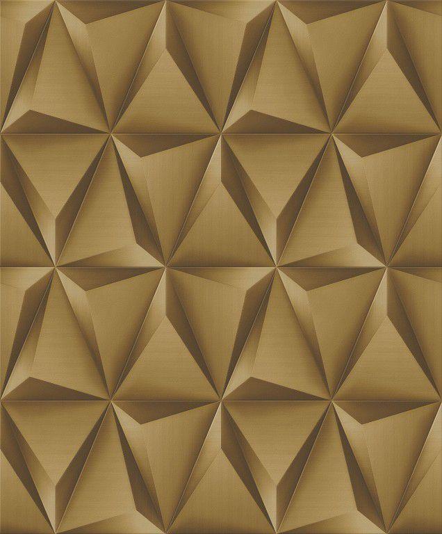 Papel de Parede Paris Decor Vinílico Coleção Paris Geométrico 3D Dourado