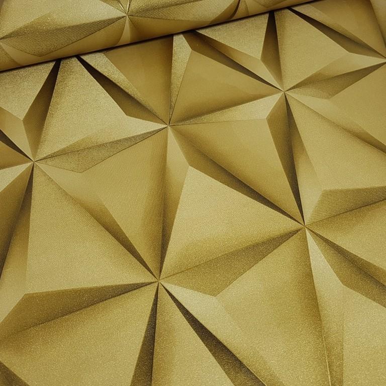 9310c1a97 ... Papel de Parede Vinílico Coleção Paris Geométrico 3D Dourado - DECOR    CIA