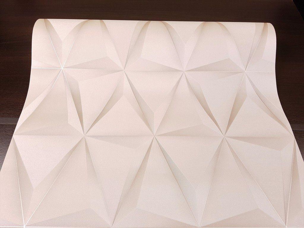 Papel de Parede Paris Decor Vinílico Coleção Paris Geométrico 3D Marfim