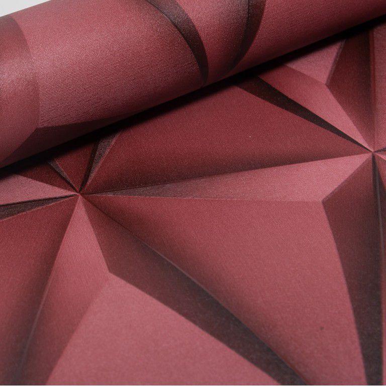 Papel de Parede Paris Decor Vinílico Coleção Paris Geométrico 3D Vermelho