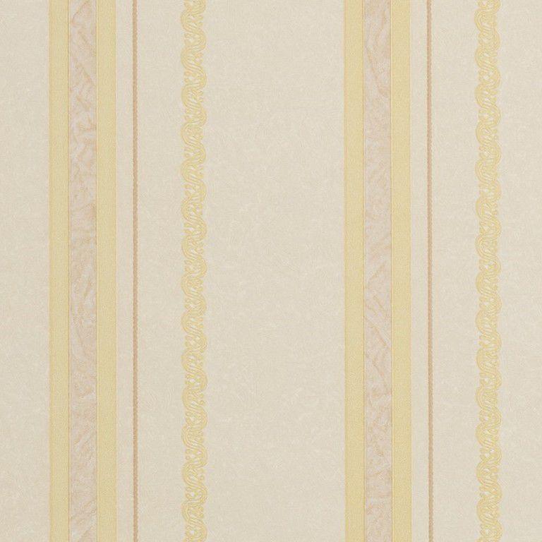 Papel de Parede Paris Decor Vinílico Coleção Paris Listras Detalhes Bege, Dourado