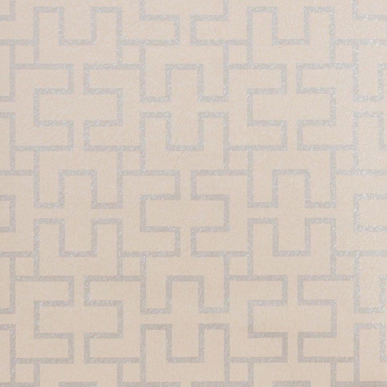 Papel de Parede Vinílico Coleção Paris Geométrico Bege, Prata