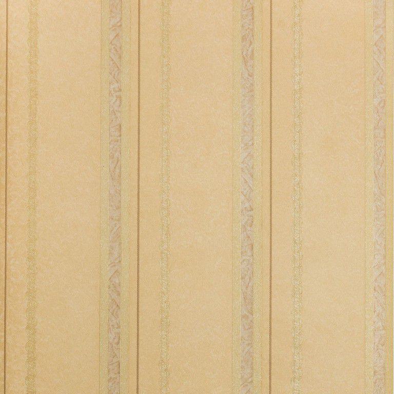 Papel de Parede Paris Decor Vinílico Coleção Paris Listras Detalhes Caramelo, Dourado