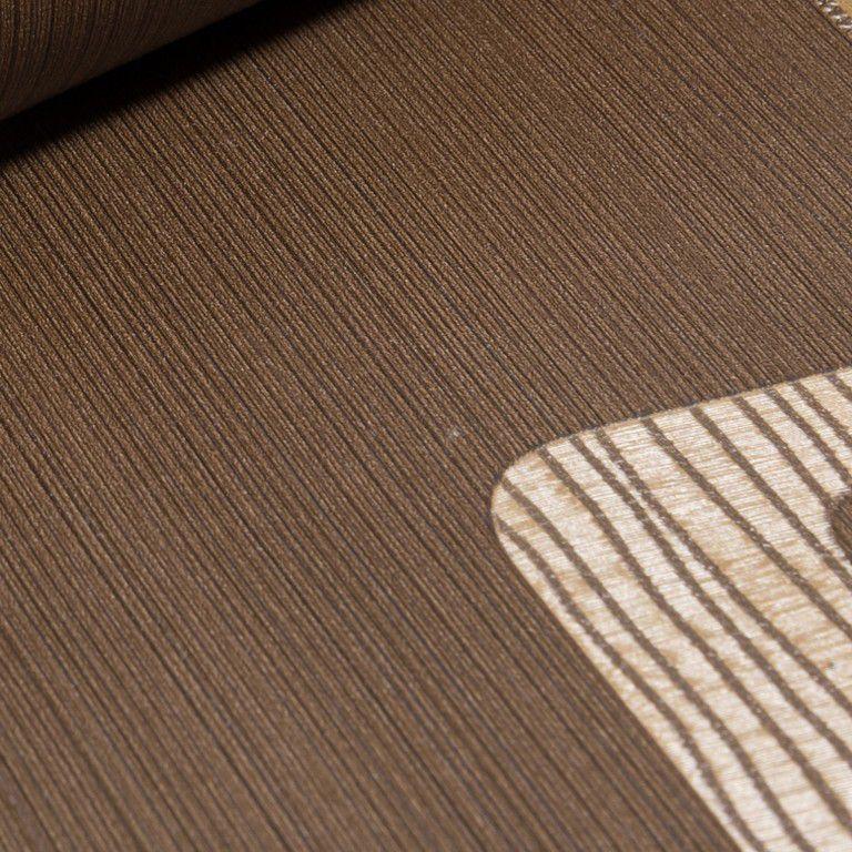 Papel de Parede Paris Decor Vinílico Coleção Paris Geométrico Marrom, Dourado