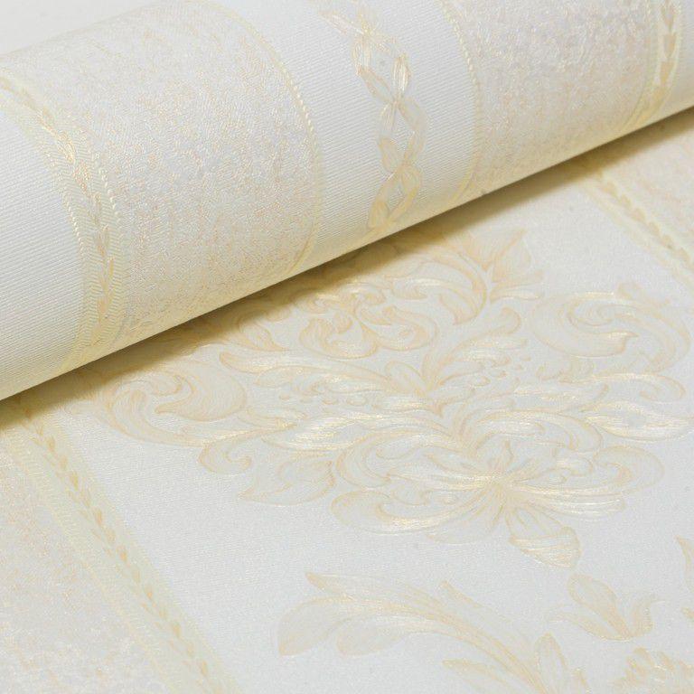 Papel de Parede Paris Decor Vinílico Coleção Paris Listras Damask Nude, Dourado