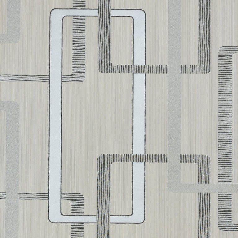Papel de Parede Paris Decor Vinílico Coleção Paris Geométrico Off White, preto, Prata