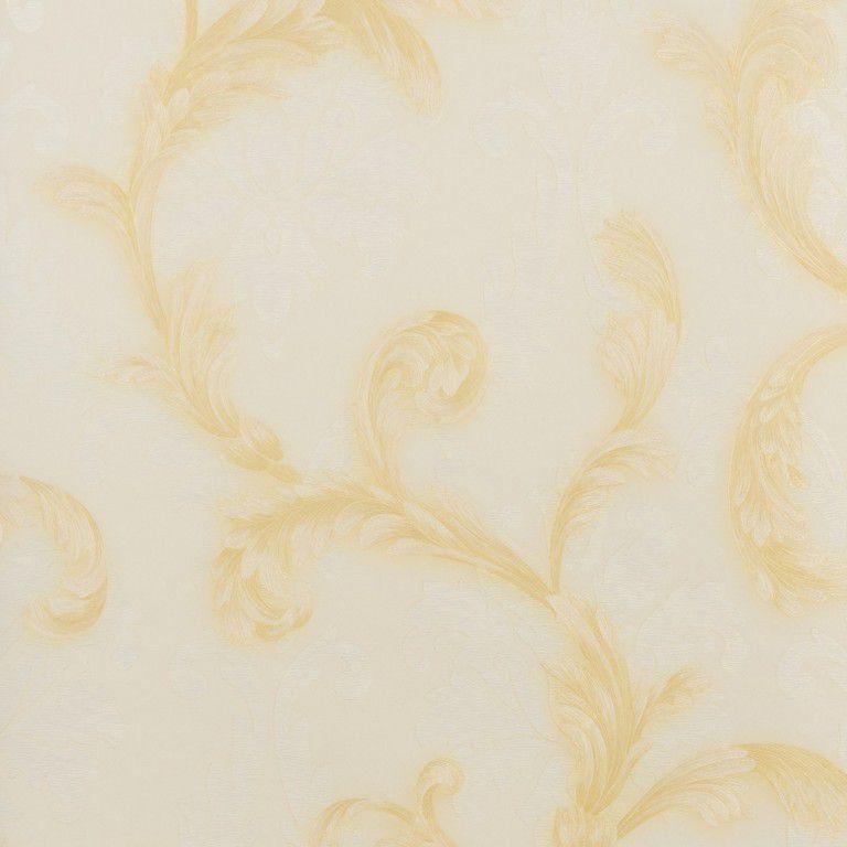 Papel de Parede Paris Decor Vinílico Coleção Paris Floral Palha, Dourado
