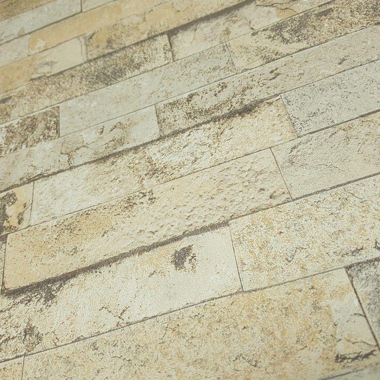 Papel de Parede Paris Decor Vinílico Coleção Paris Filetes de pedra Tons Bege