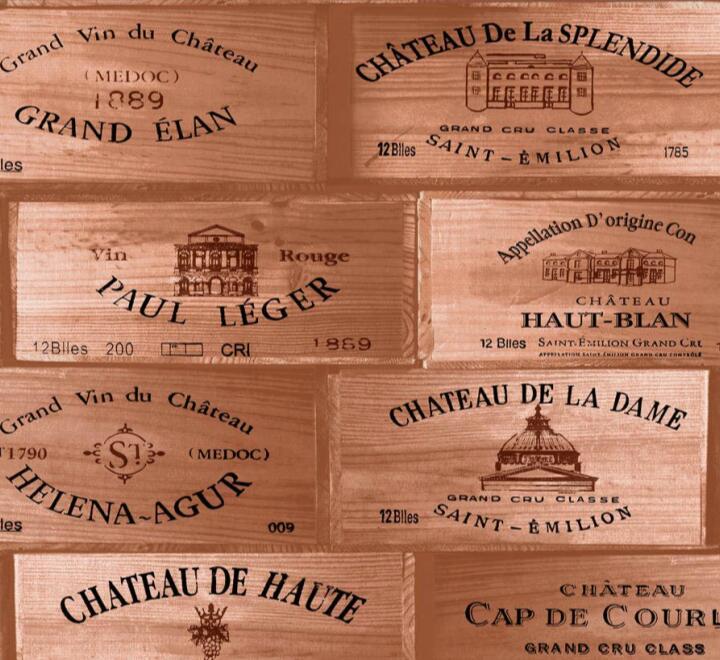 Papel de Parede Vinílico Coleção Space Home II Caixas de Vinho Tons de Marrom
