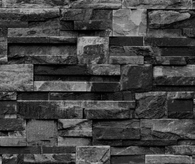 Papel de Parede Vinílico Coleção Space Home II Filete de Pedra Tons de Preto, Cinza
