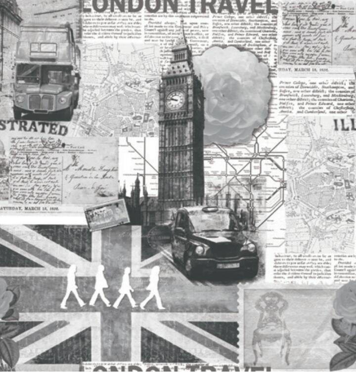 Papel de Parede Vinílico Coleção Space Home II London Travel Tons de Cinza, Creme, Preto