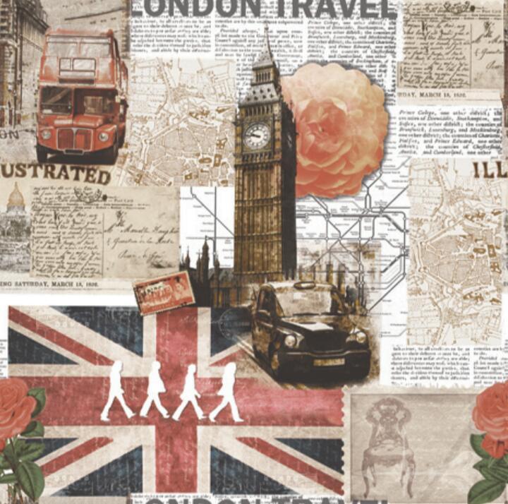 Papel de Parede Vinílico Coleção Space Home II London Travel Vermelho, Bege, Cinza, Azul