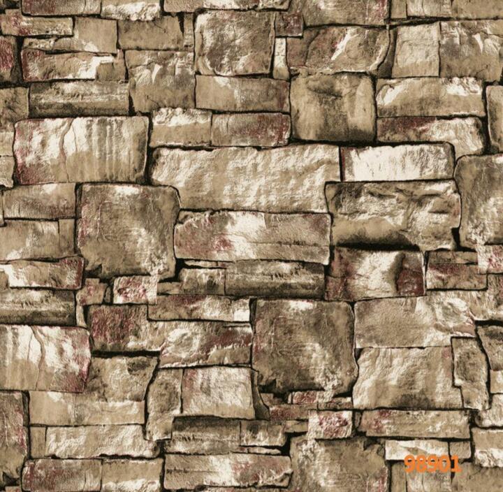 Papel de Parede Vinílico Coleção Space Home II Pedras Tons de Cinza, Marrom, Creme