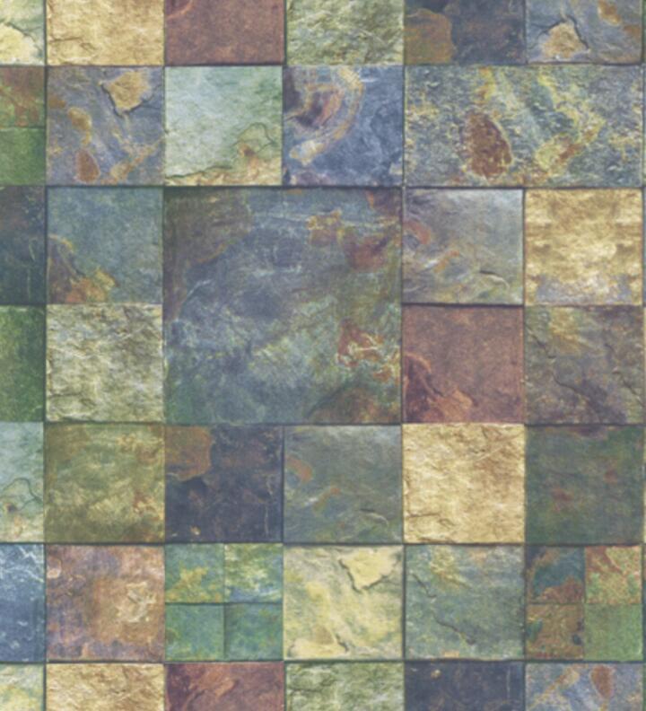 Papel de Parede Vinílico Coleção Space Home Ii Pedras Xadrez Verde, Amarelo Azul Anil
