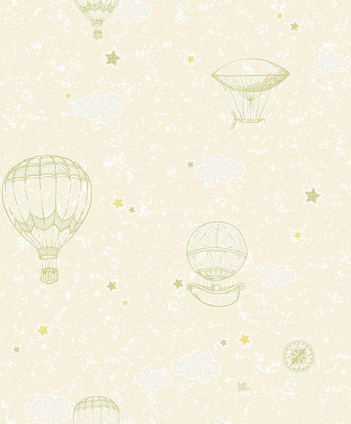 Papel de Parede Kan Tai Vinilico Infantil Coleção YoYo Balões Amarelo, Verde, Branco