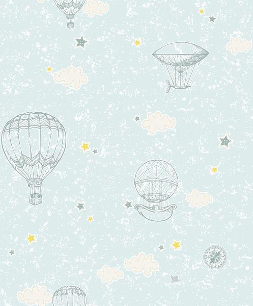 Papel de Parede Kan Tai Vinilico Infantil Coleção YoYo Balões Azul claro, Branco, Amarelo