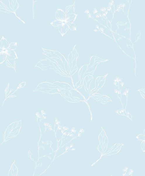 Papel de Parede Kan Tai Vinilico Infantil Coleção YoYo Folhagem Azul, Branco