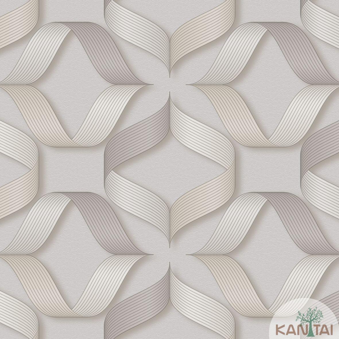 Papel de Parede   Kan Tai  Vinilico Coleção Neonature III 3D Geométrico Formas Cinza, Marrom Claro