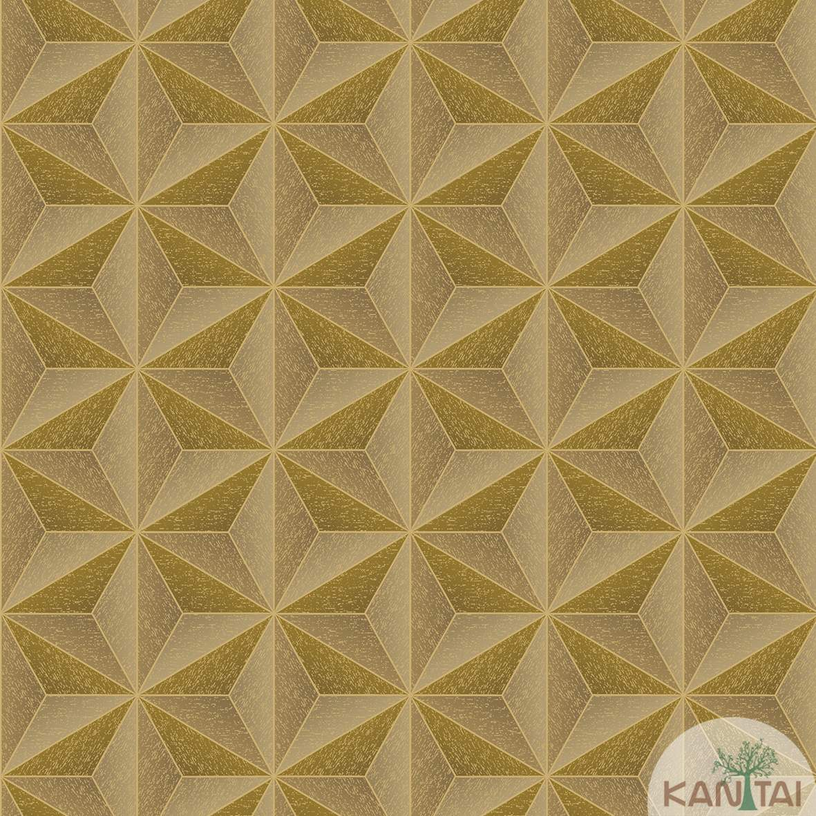 Papel de Parede  Kan Tai Vinilico  Coleção Neonature III 3D Geométrico Dourado