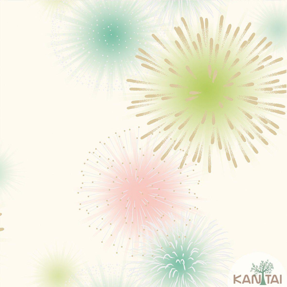 Papel de Parede  Kan Tai Vinilico Coleção Neonature III 3D Fogos e Artifícios Creme, Azul, Rosa