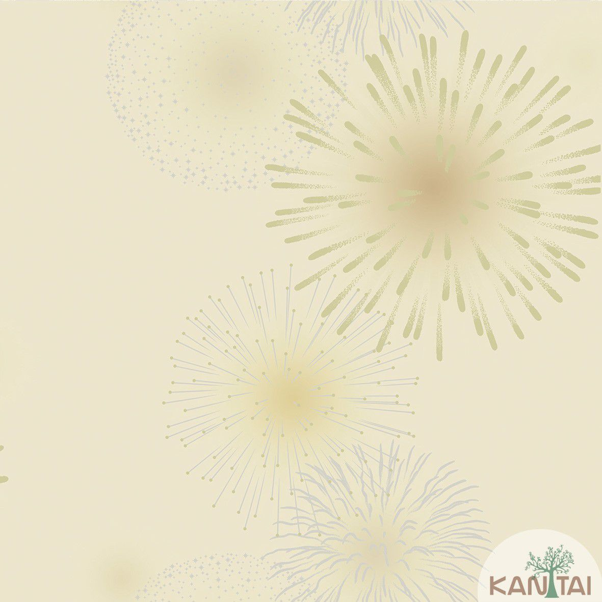 Papel de Parede Kan Tai Vinilico  Coleção Neonature III 3D Fogos e Artifícios Bege, Dourado