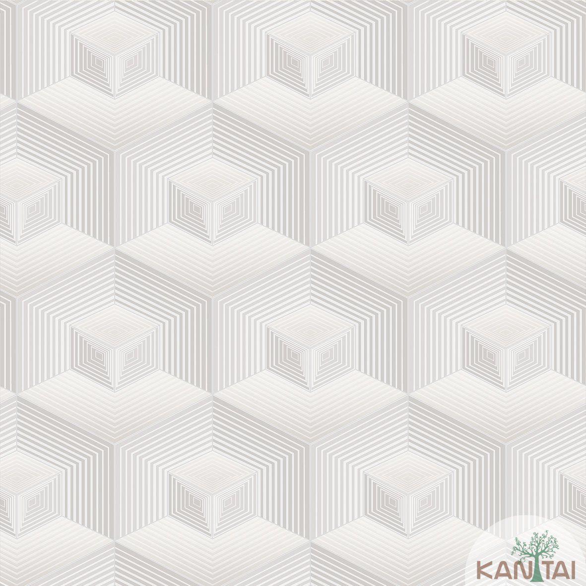 Papel de Parede Kan Tai Vinilico  Coleção Neonature III 3D Geométrico Cinza, Marrom Claro