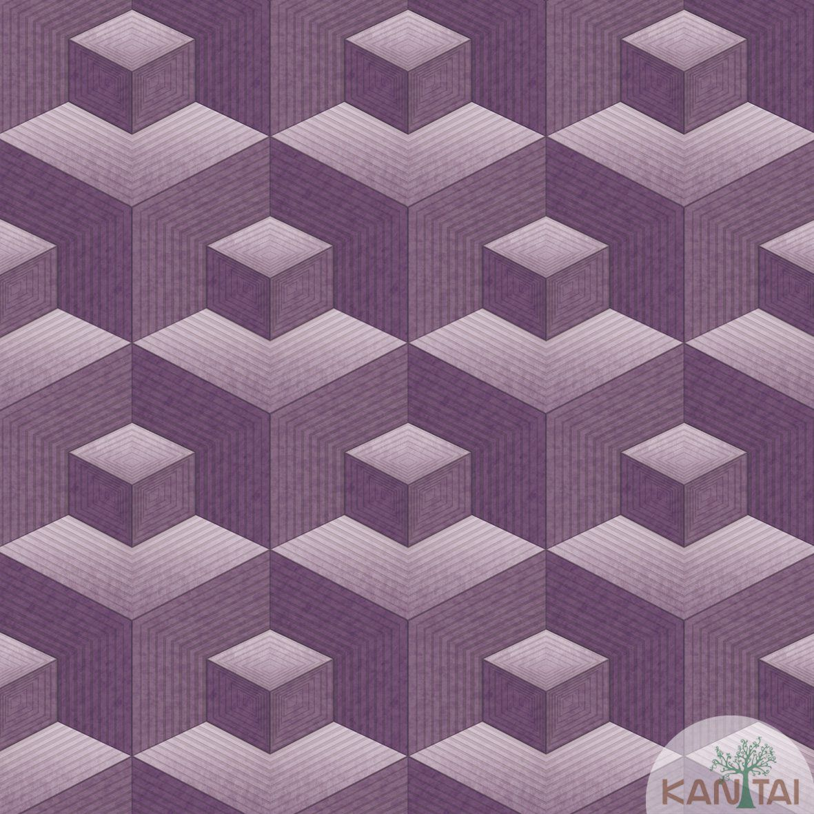 Papel de Parede   Kan Tai  Vinilico Coleção Neonature III 3D Geométrico Roxo, Cinza