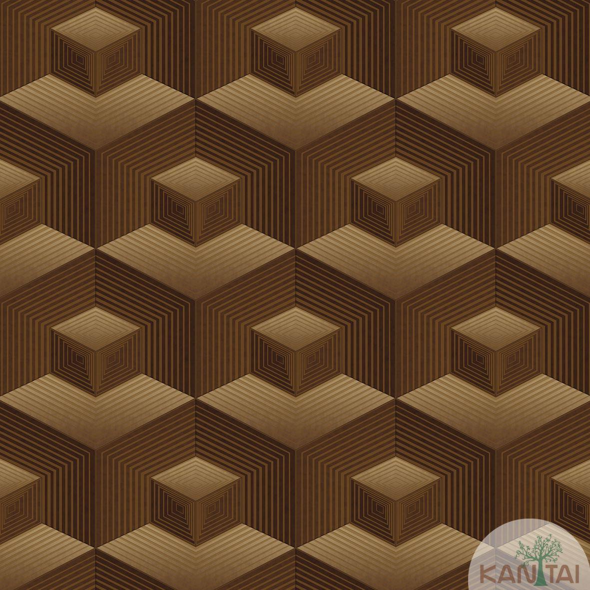 Papel de Parede   Kan Tai  Vinilico Coleção Neonature III Geométrico Tons Marrom