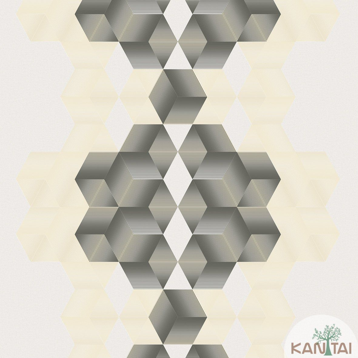 Papel de Parede  Kan Tai Vinilico  Coleção Neonature III 3D Geométrico Bege, Creme, Grafite
