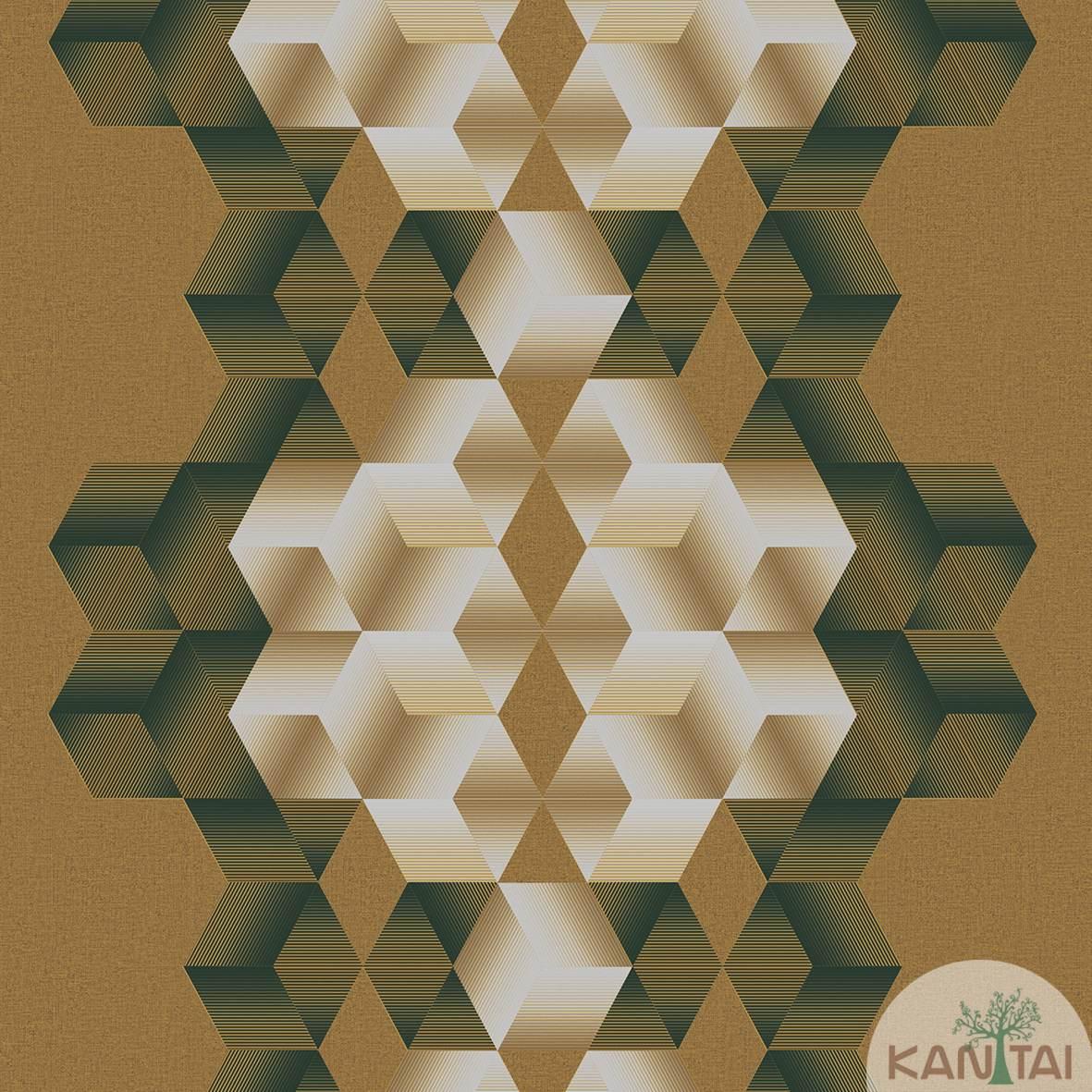 Papel de Parede  Kan Tai  Vinilico Coleção Neonature III 3D Geométrico Losango Tons Marrom, Brilho