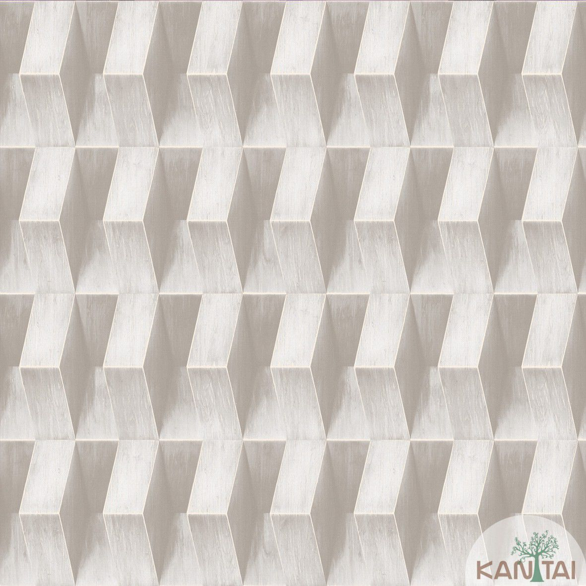 Papel de Parede   Kan Tai Vinilico Coleção Neonature III 3D Geométrico Cinza, Creme